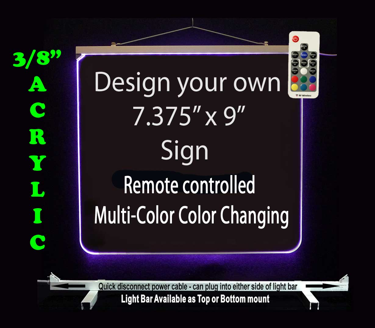 "Design your own LED Neon Sign 7.375"" x 9"""