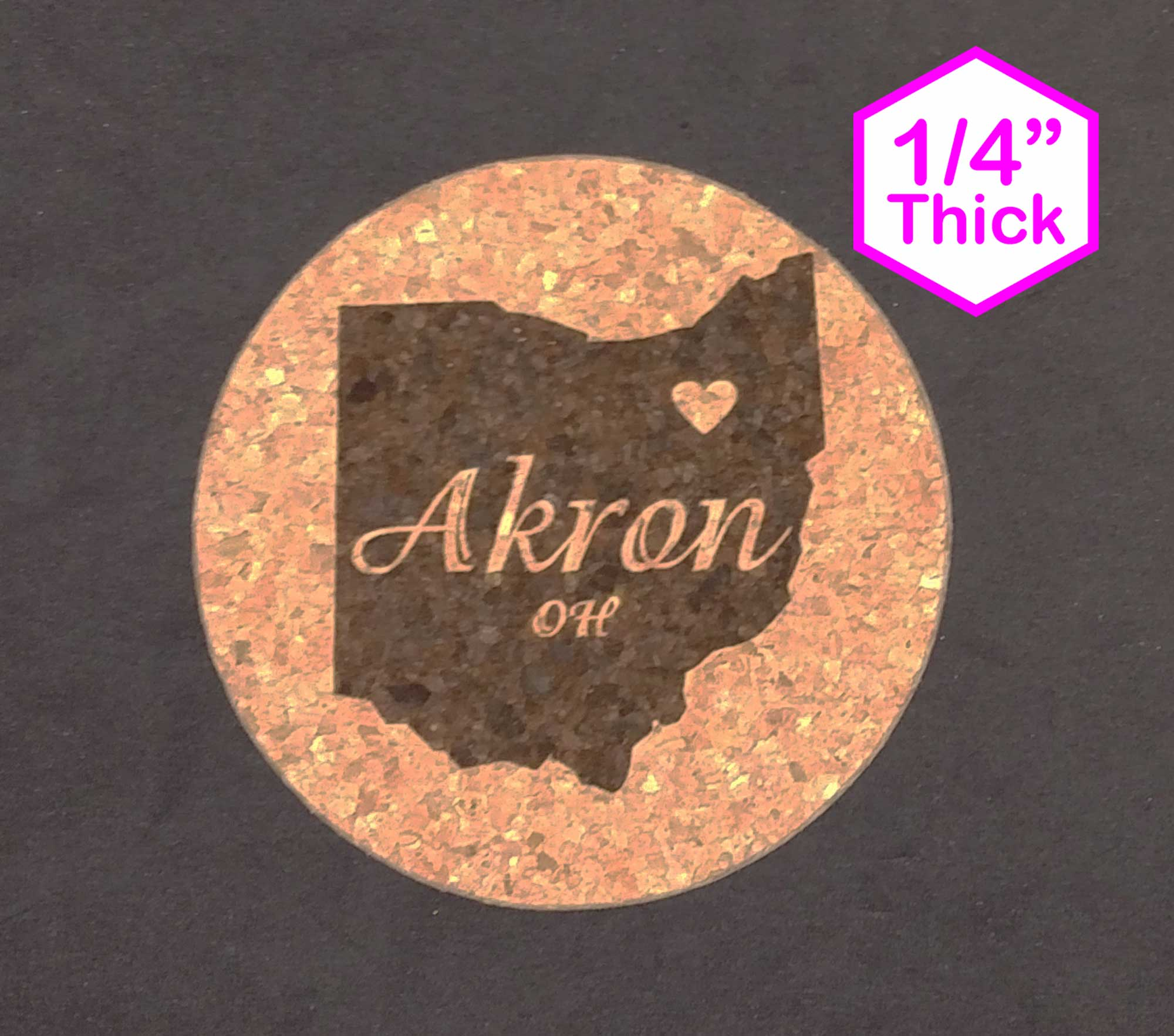 "Akron Ohio 4"" x 4"" Cork Coasters"