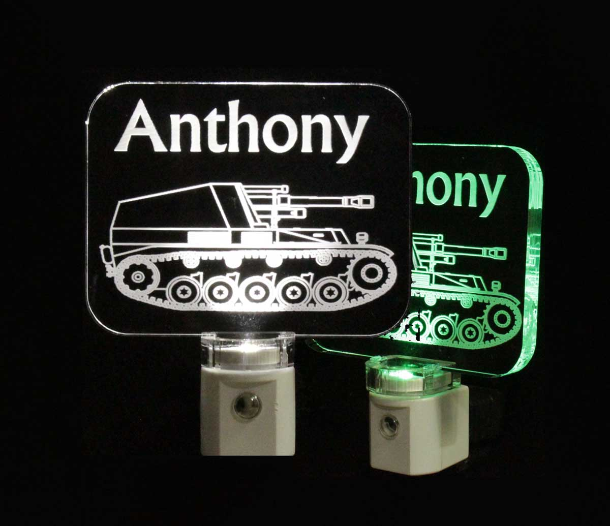 Army Tank Personalized LED Night Light, Military vehicle