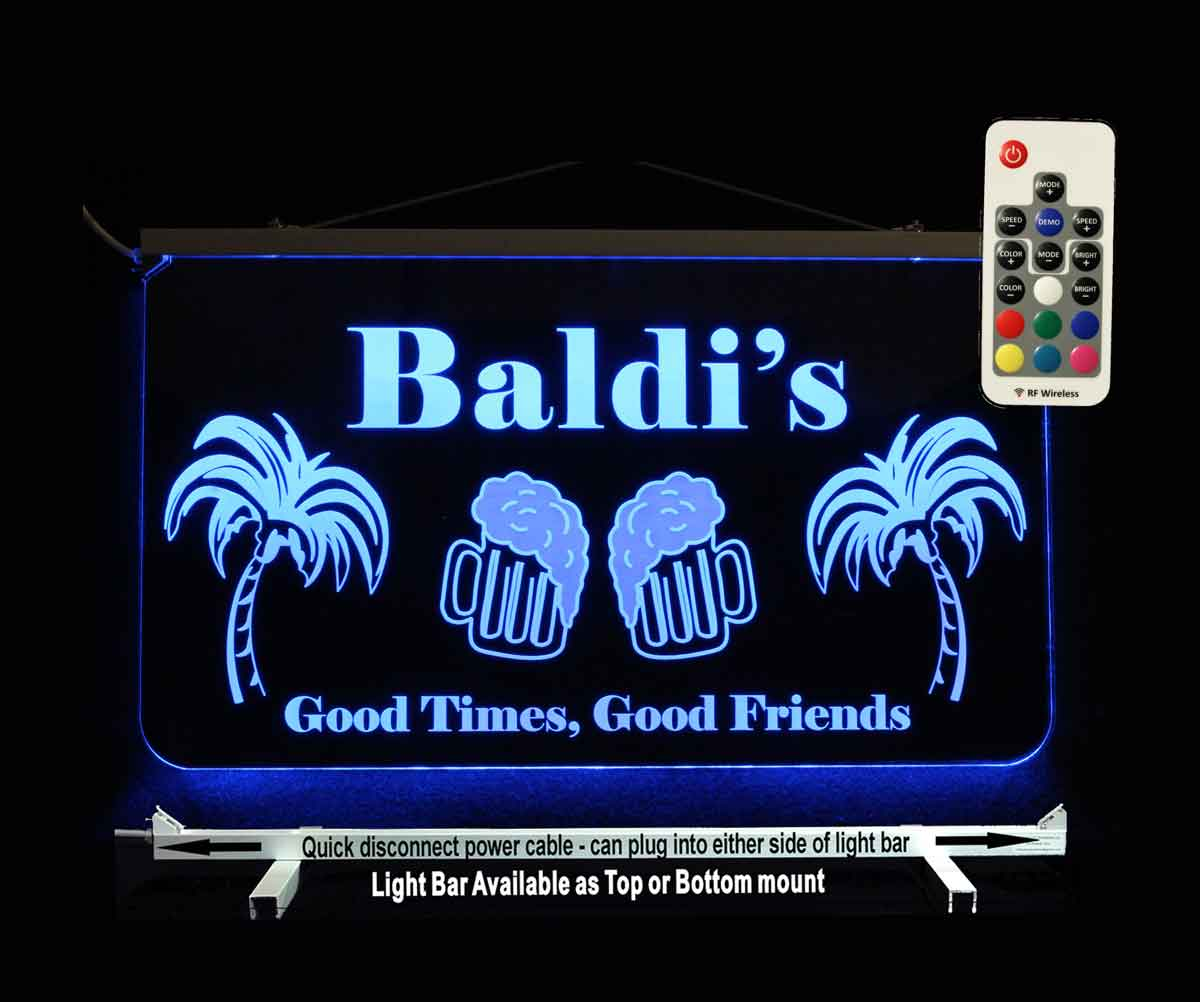 Custom Bar Sign, Man Cave Sign with palm trees and beer mugs LED Neon Sign