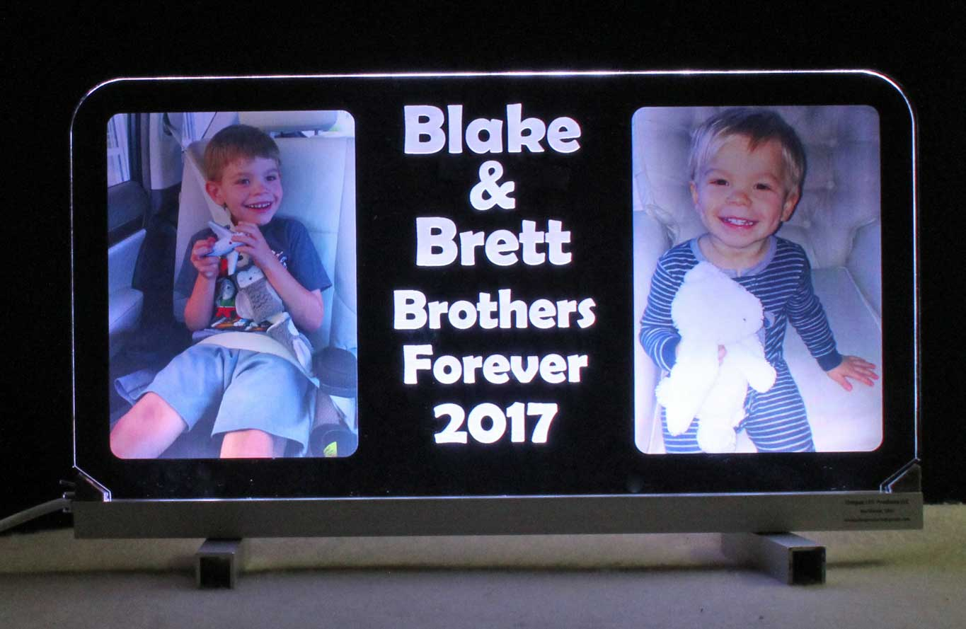 Personalized UV Printed photograph on acrylic lighted sign