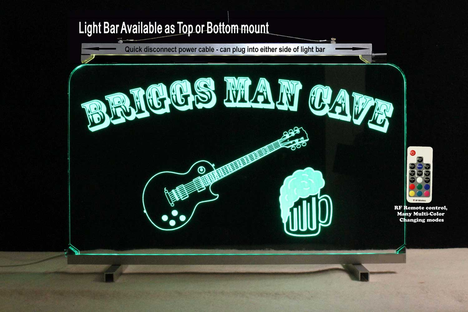 Personalized Bar Sign, Man Cave Sign with Beer and Guitar