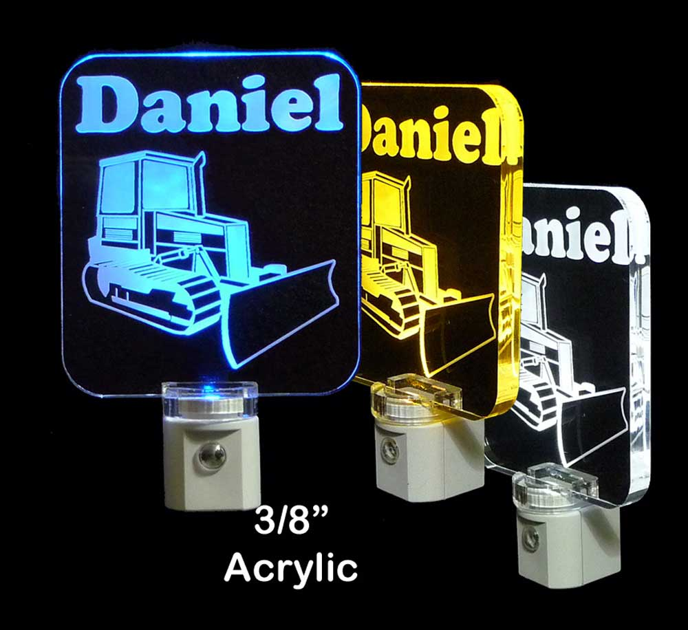Bulldozer Construction Vehicle Personalized LED Night Light