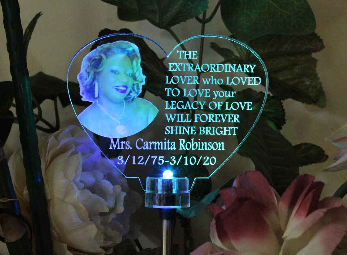 Heart Personalized Photo Solar light Personalized  Grave Marker, Garden Light