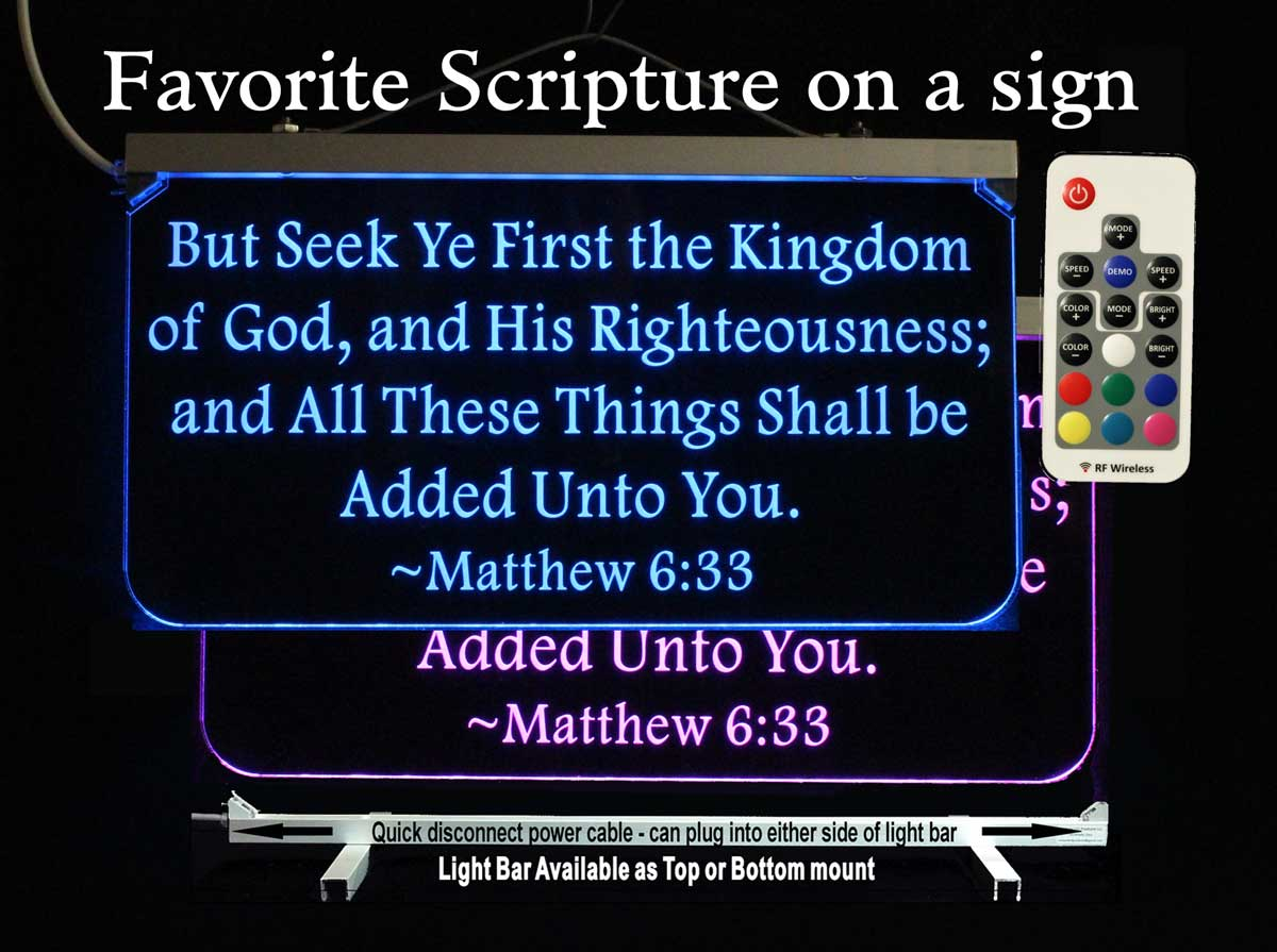 Personalized Christian Scripture Bible Verse Lighted sign