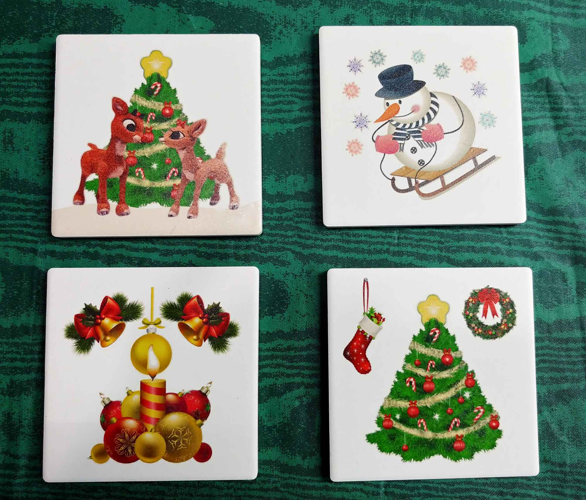 Christmas Coasters UV Priinted Absorbent stone Qty 1