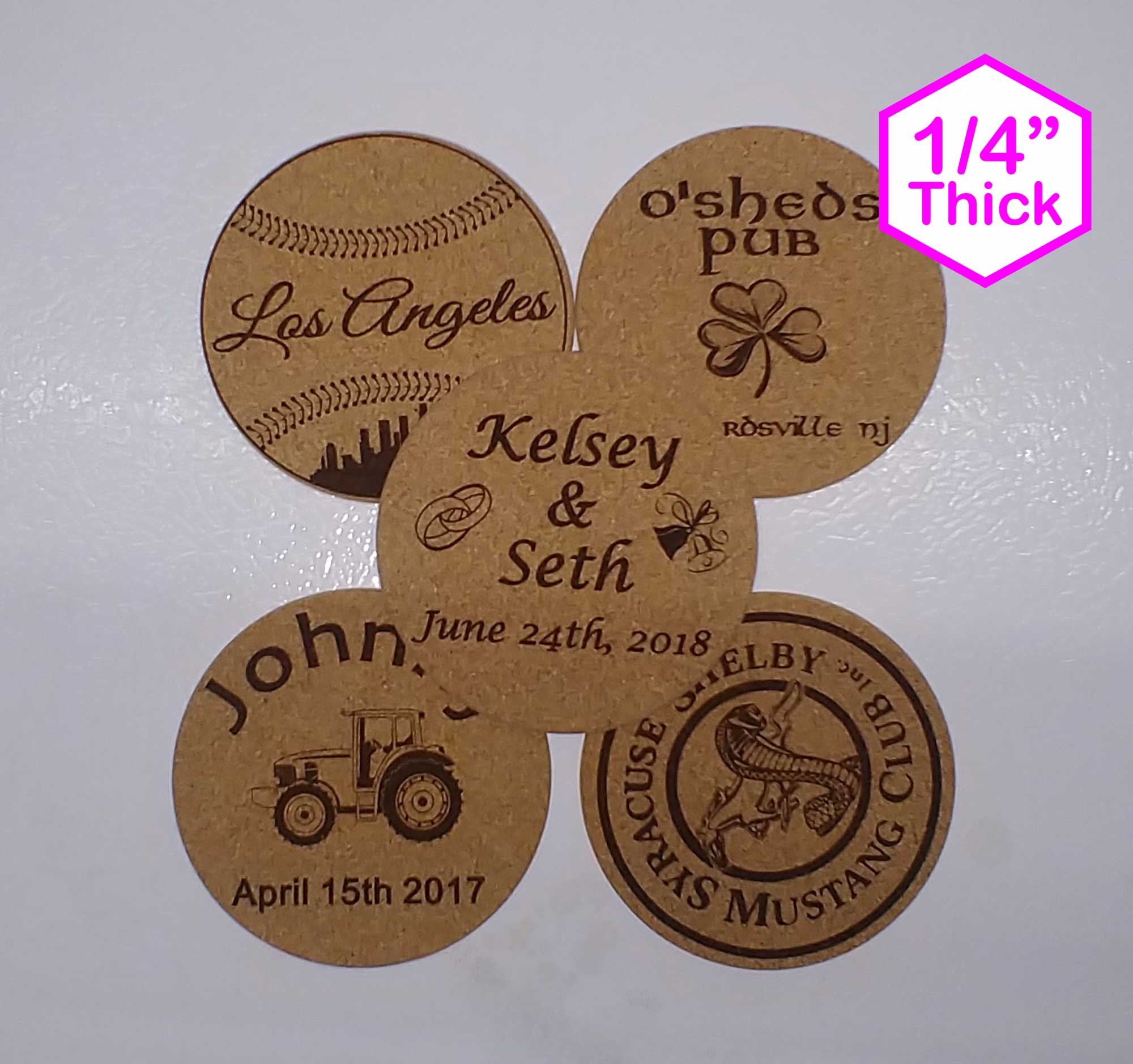 "Personalized 4"" x 4"" Cork Coasters"