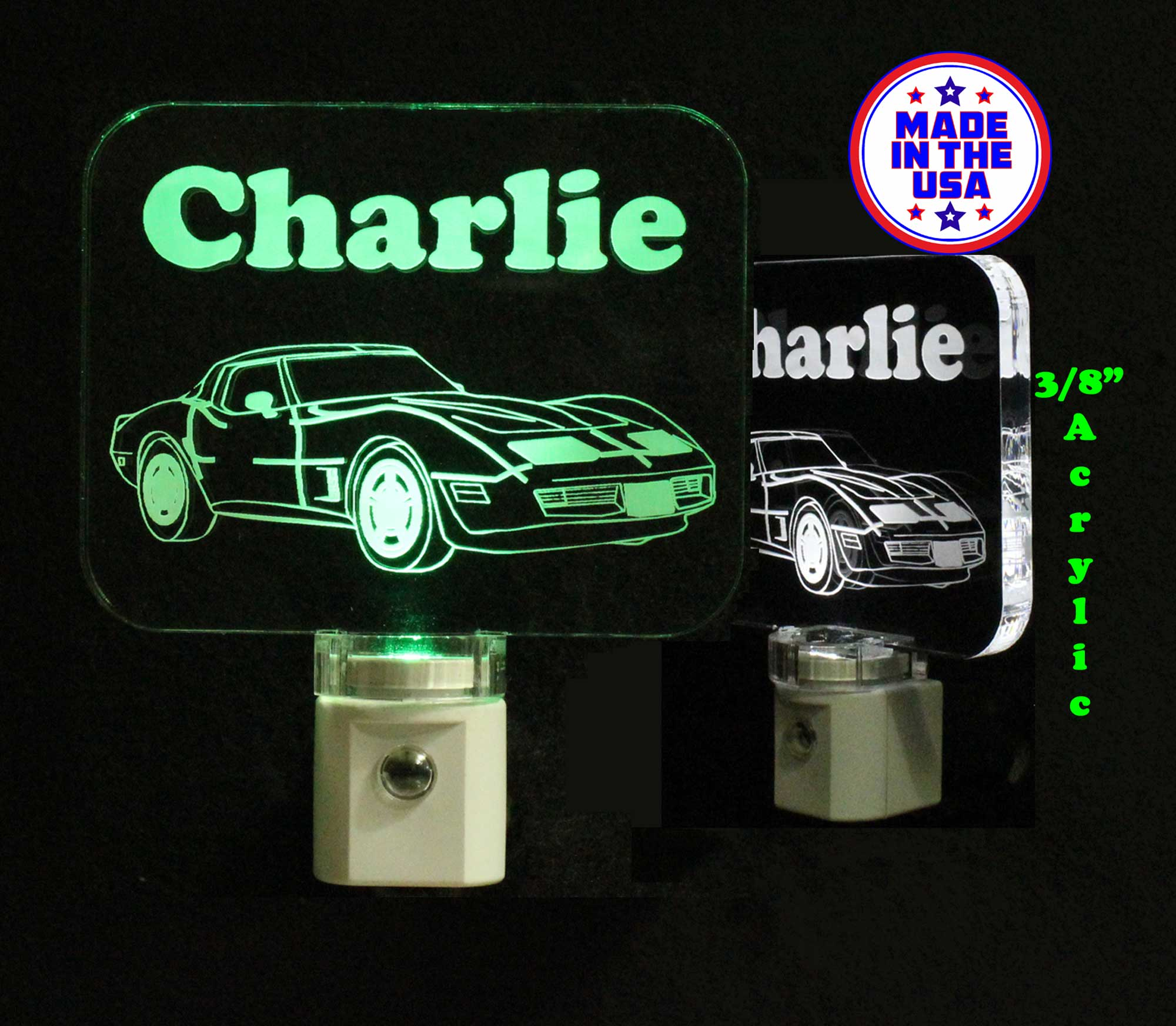 Corvette Night Light, Personalized