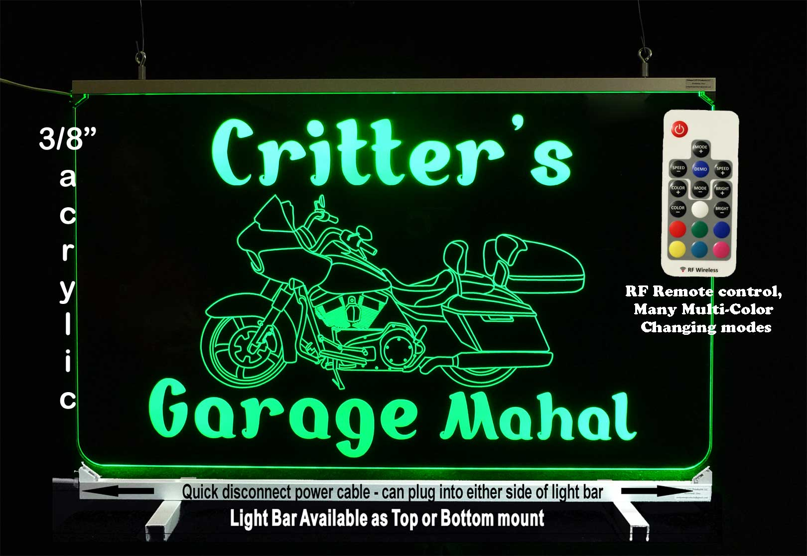 LED Motorcycle Personalized Sign Man Cave