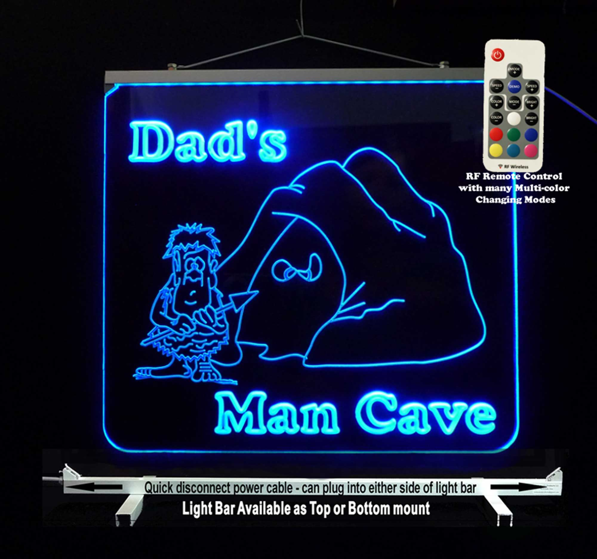 Personalized  Man Cave Sign, Bar Sign, Garage Sign- Multi Color Changing