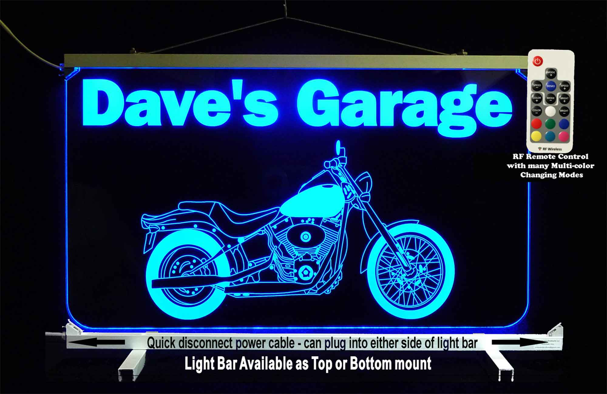 Personalized LED Garage Sign, Motorcycle Sign,  Man Cave Sign, Neon Bar Sign