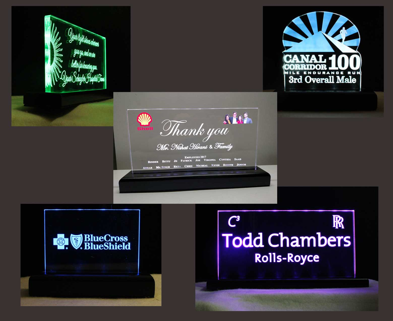 Rechargeable Battery Operated LED Awards, Trophies, Name Plates, Desk Signs