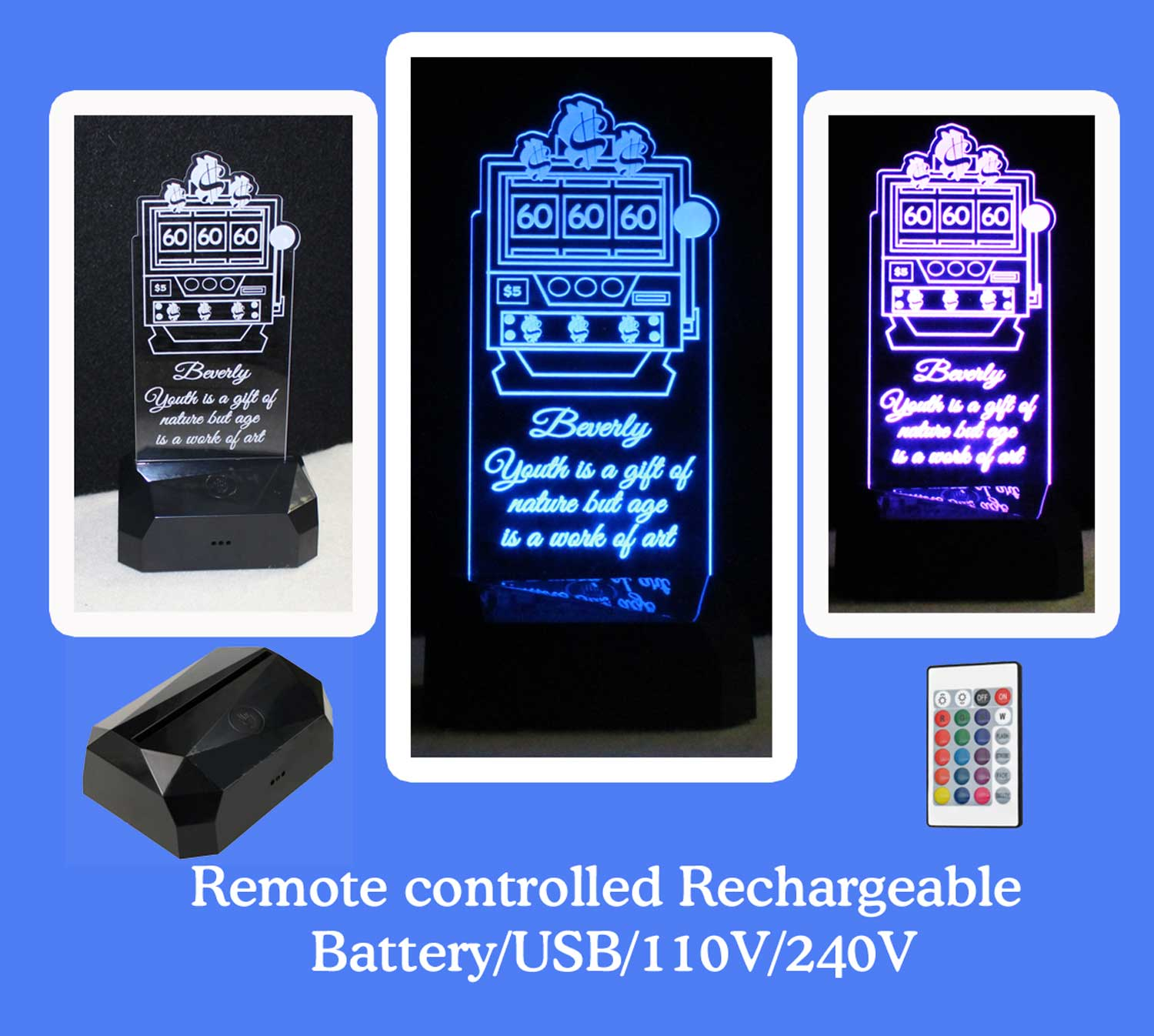 Slot Machine Rechargeable Battery USB/110V/240V Personalized night light, Funny 60 year birthday gift