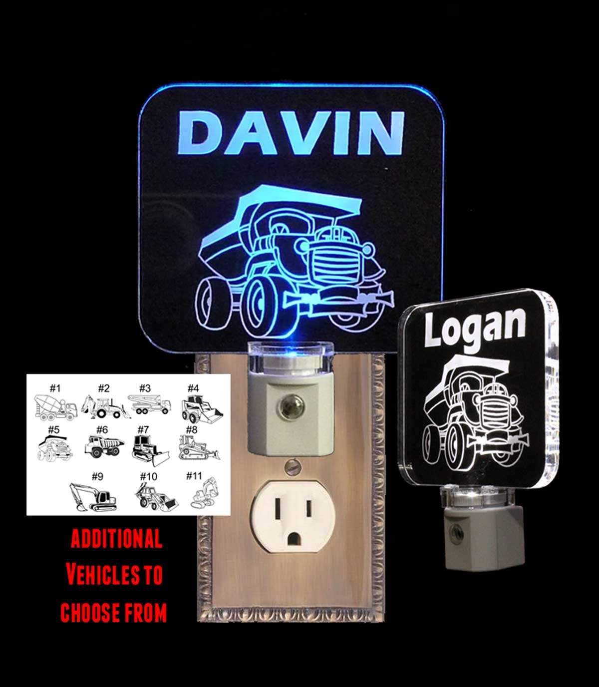 Personalized Dump Truck LED Night Light