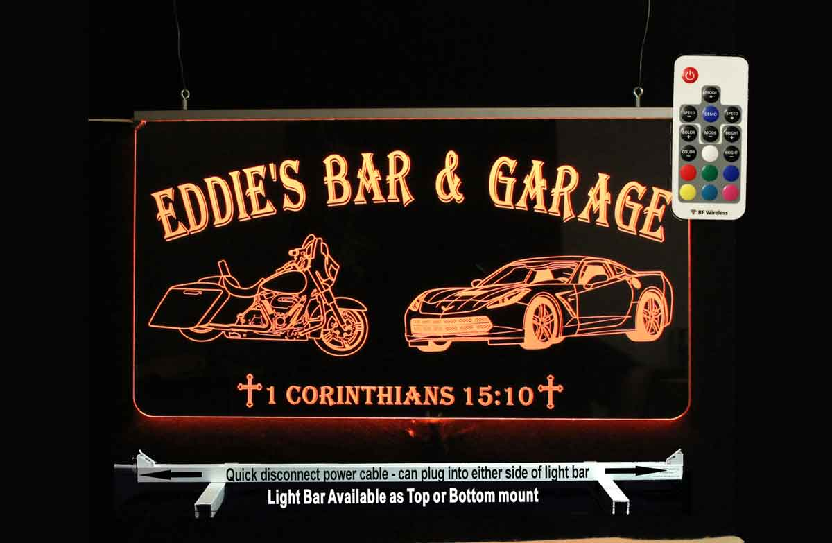 Personalized Motorcycle Corvette LED Neon Sign -  Garage Sign