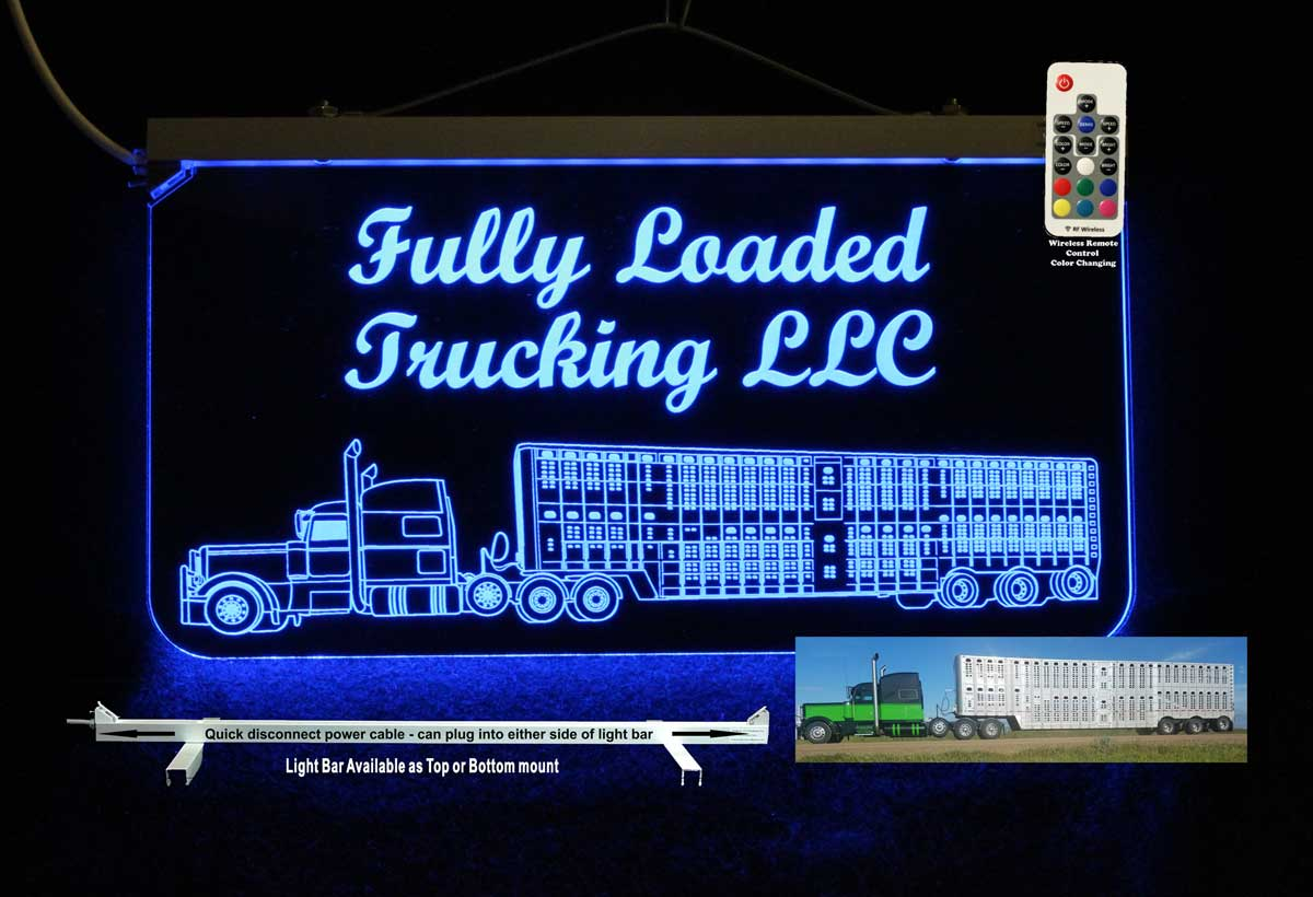 Personalized Cattle Truck LED Neon Sign -  Man Cave Sign