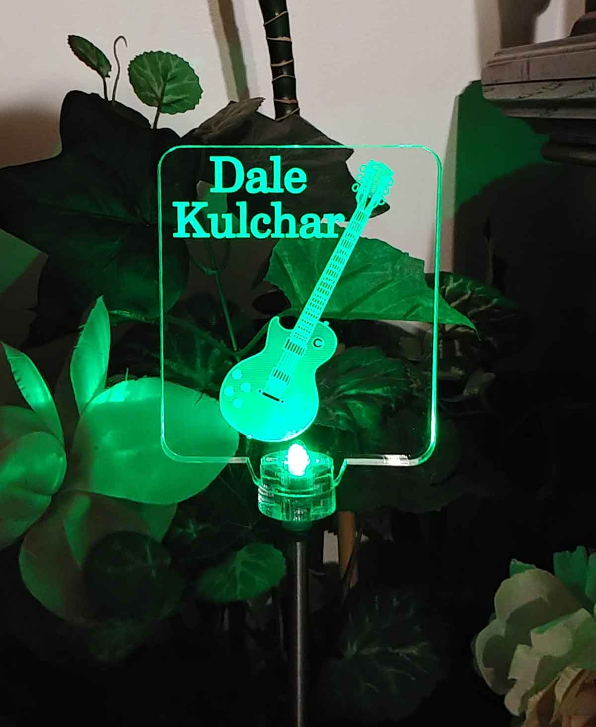 Personalized Guitar Solar Light, Custom Grave maker. Garden light