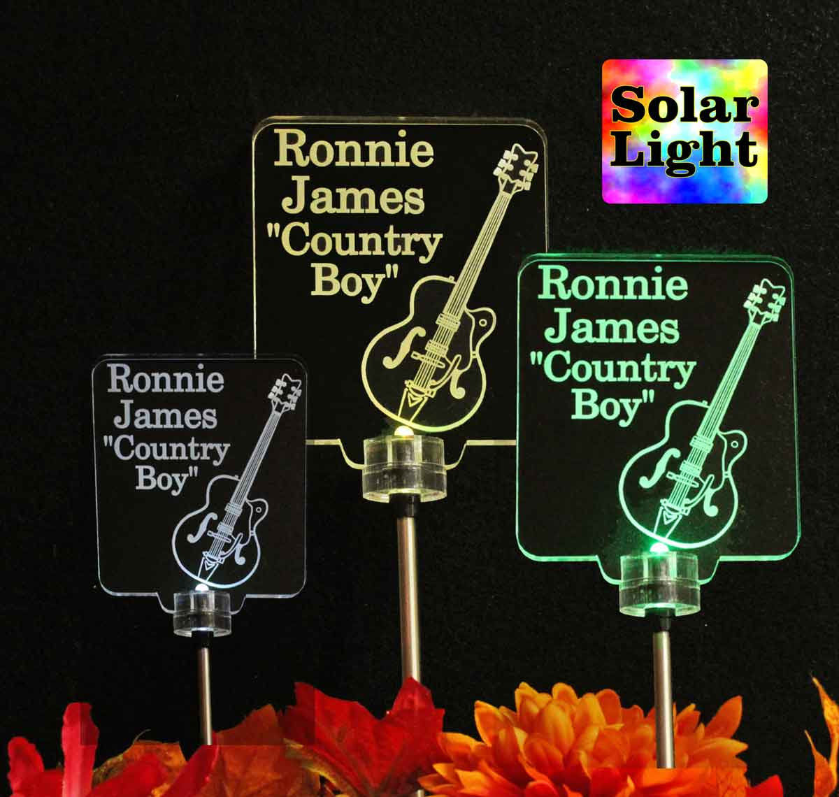 Grave Marker, Personalized Guitar Solar Light, Custom Garden light