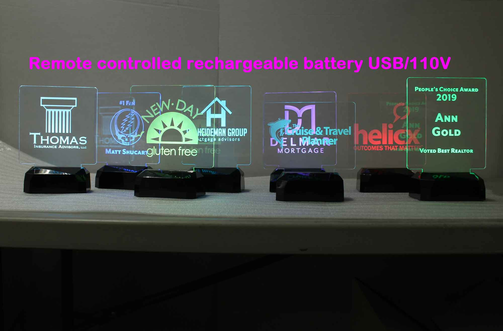 Rechargeable Battery USB/110V/240V Personalized night light, Desk sign, award