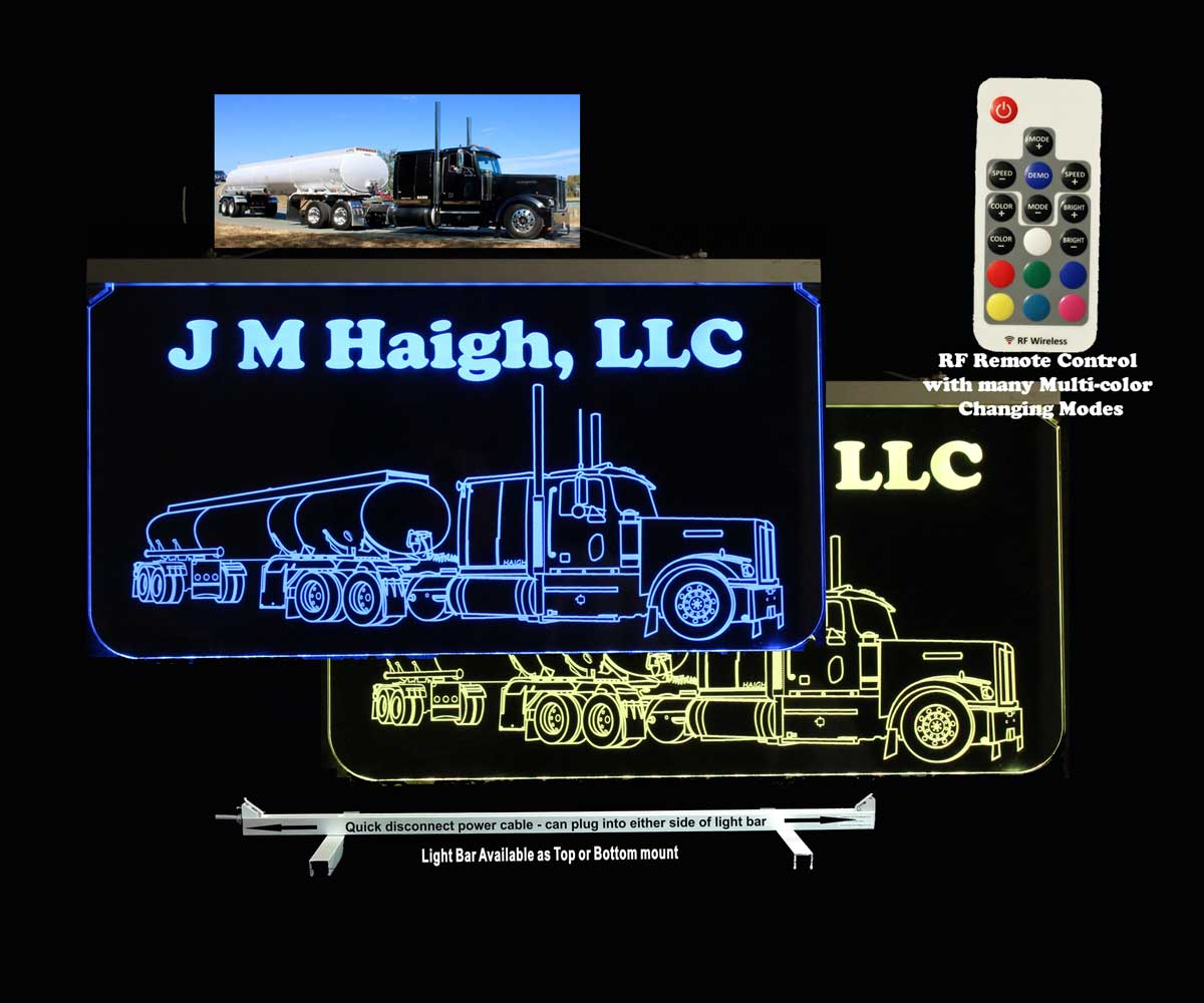 Personalized Oil Tanker truck sign, Semi Truck