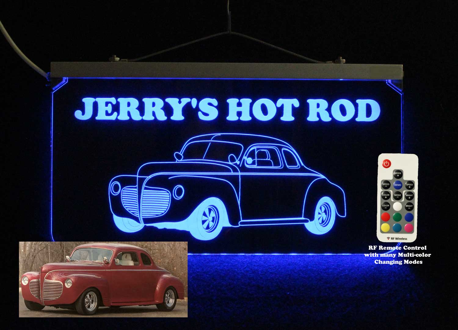 Personalized Hot Rod Car Garage Sign, Man Cave Sign, LED Neon Sign