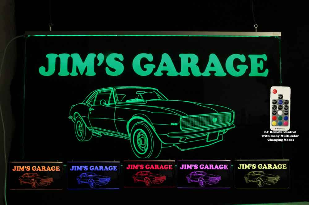 Chevy Camaro Personalized Garage Man Cave Sign - Neon LED Car sign