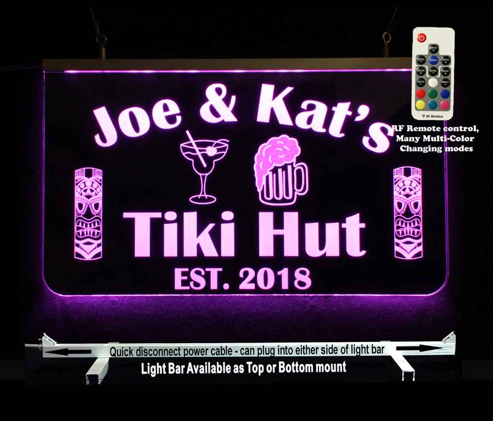 Tiki Bar Sign, Personalized Man Cave Bar Sign, LED Neon
