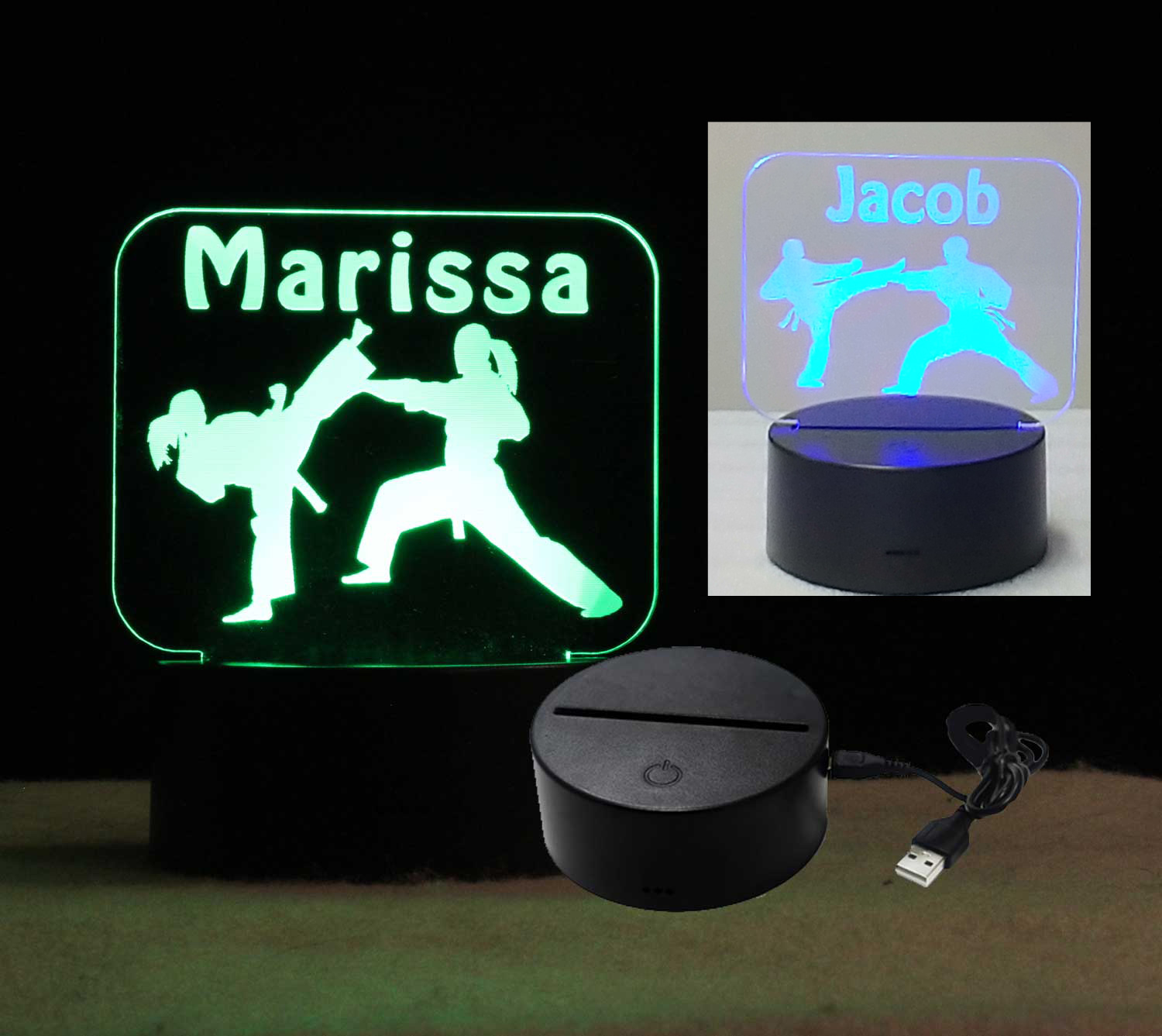 Personalized USB/110V/240V battery operated Karate night light