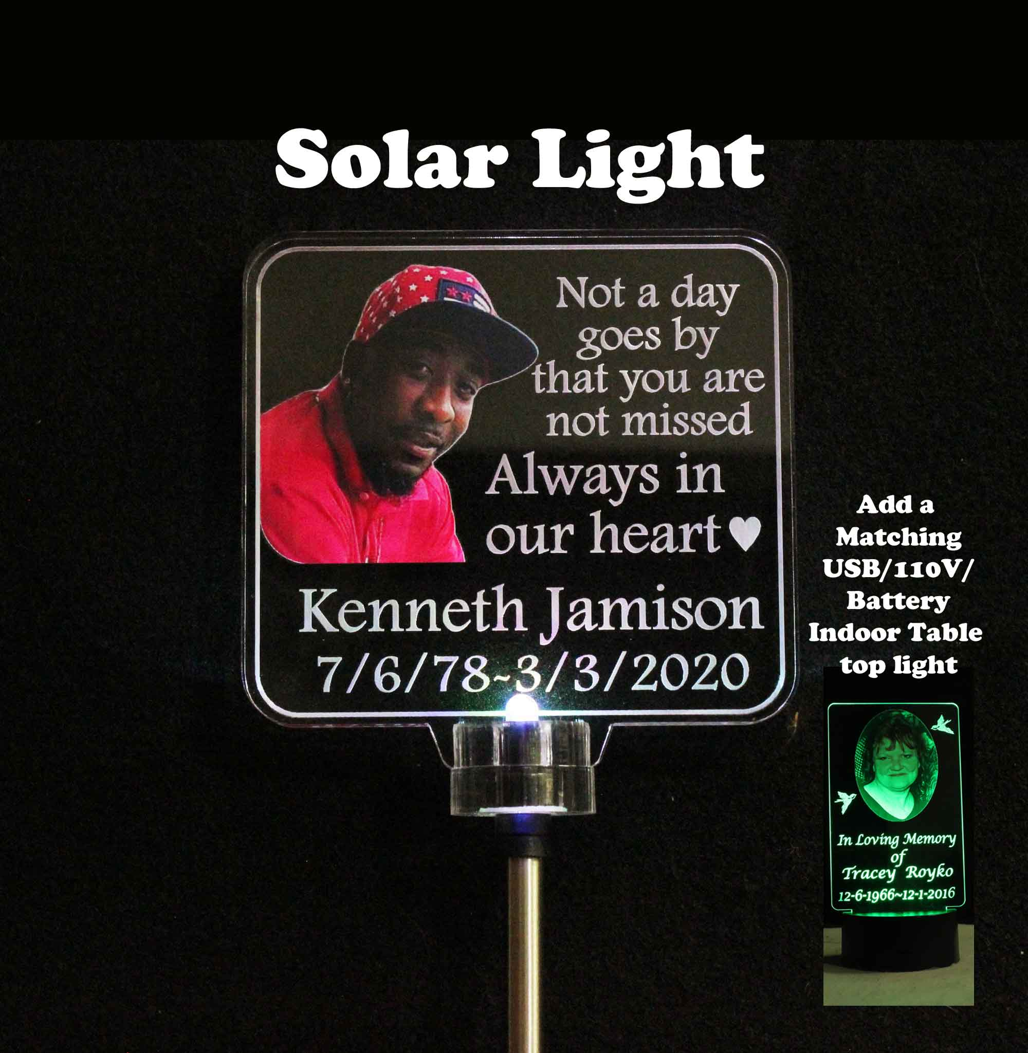 Personalized Solar light with Photograph, Grave Marker, Garden Light