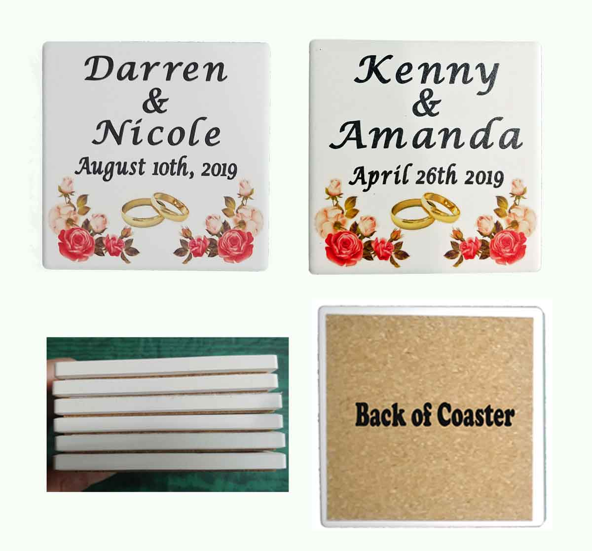 Wedding coasters - UV Priinted Stone Absorbent coasters Qty 2