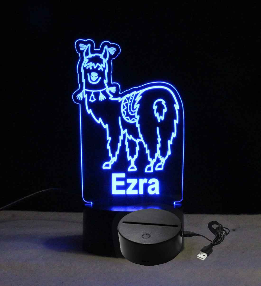 Personalized Engraved Llama Night Light - USB - 110V - Battery - Customizable