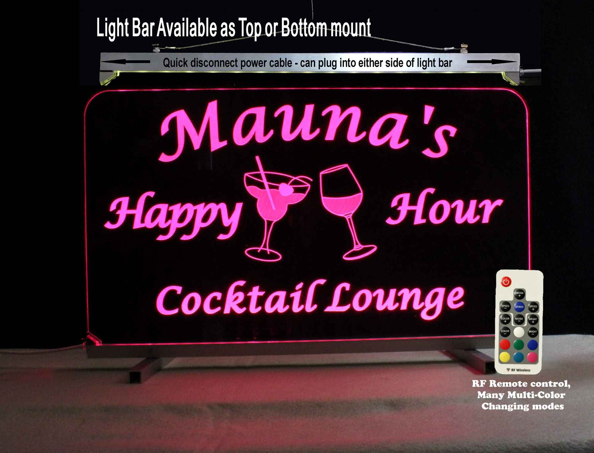 Personalized Bar Sign for her, Wine Glass, Margarita Glass, Pub Sign