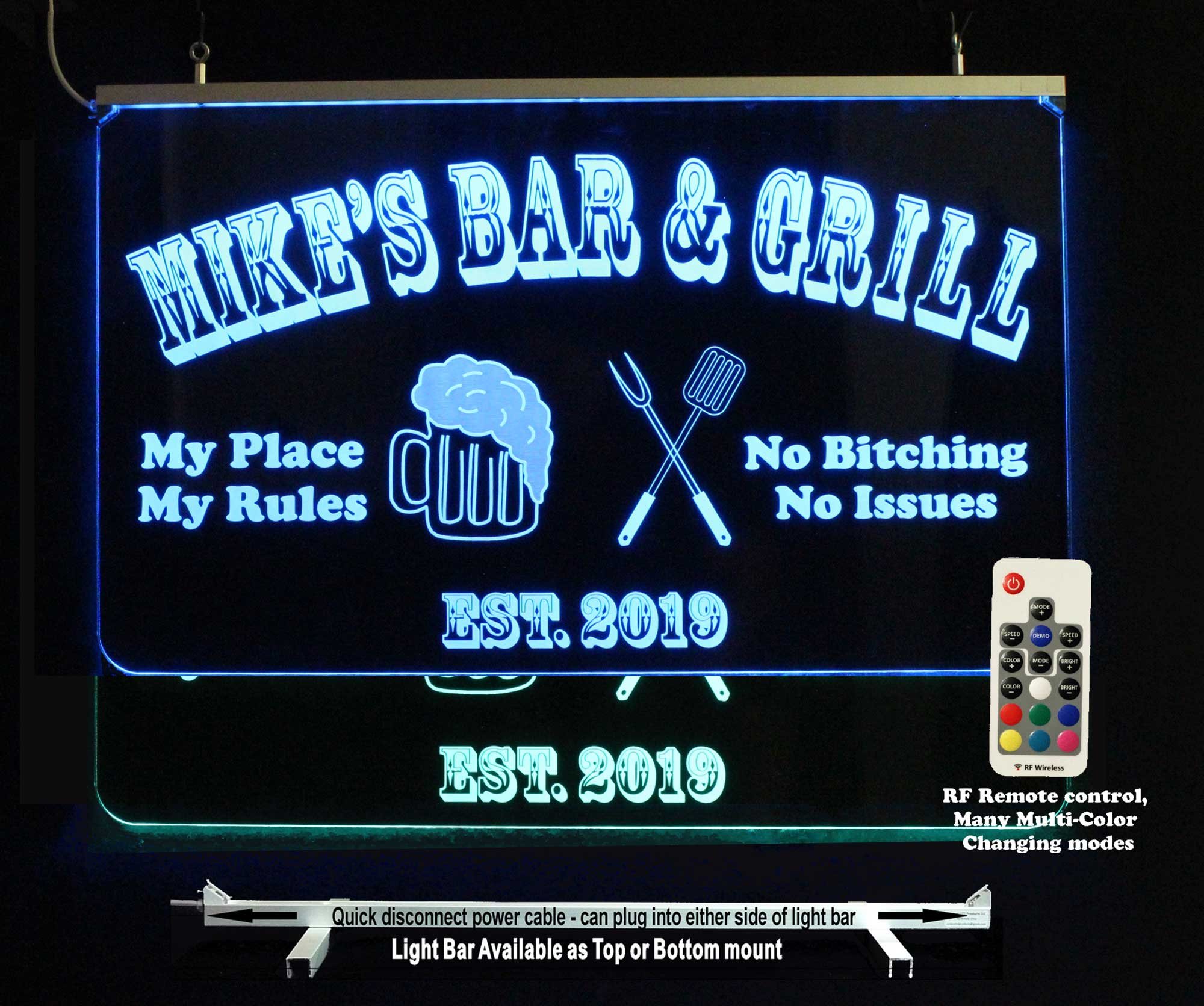 Custom Bar Sign, with Beer mug, and BBQ Utensils, LED Neon Sign