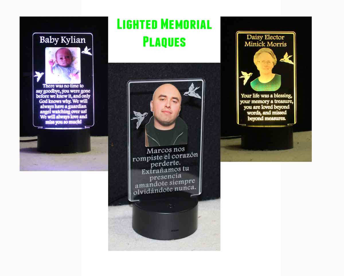 Personalized Memorial Plaque Photo Night Light, Acrylic USB/110V/Battery
