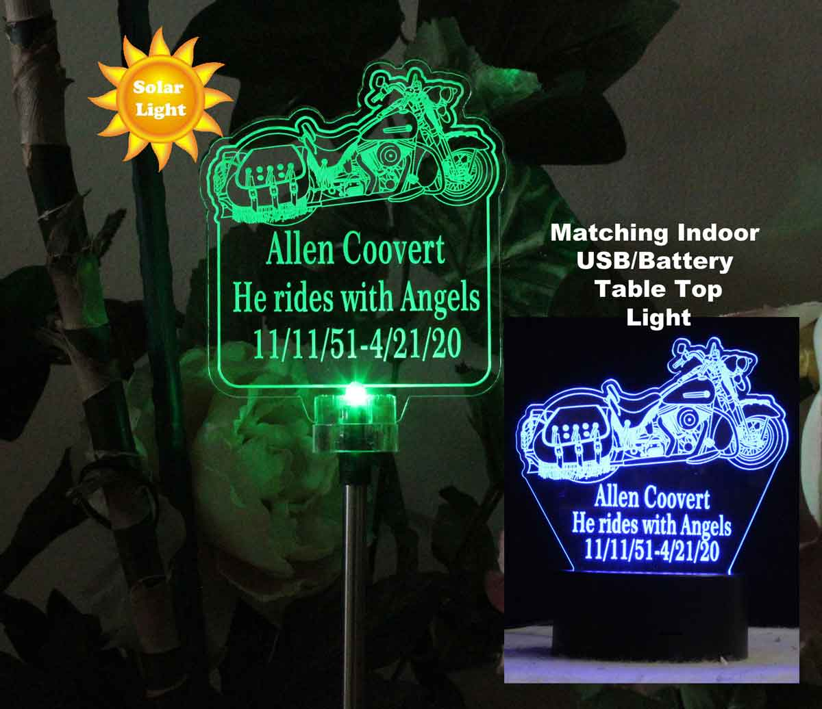 Personalized Harley motorcycle Solar Lihgt Garden light, Grave Marker