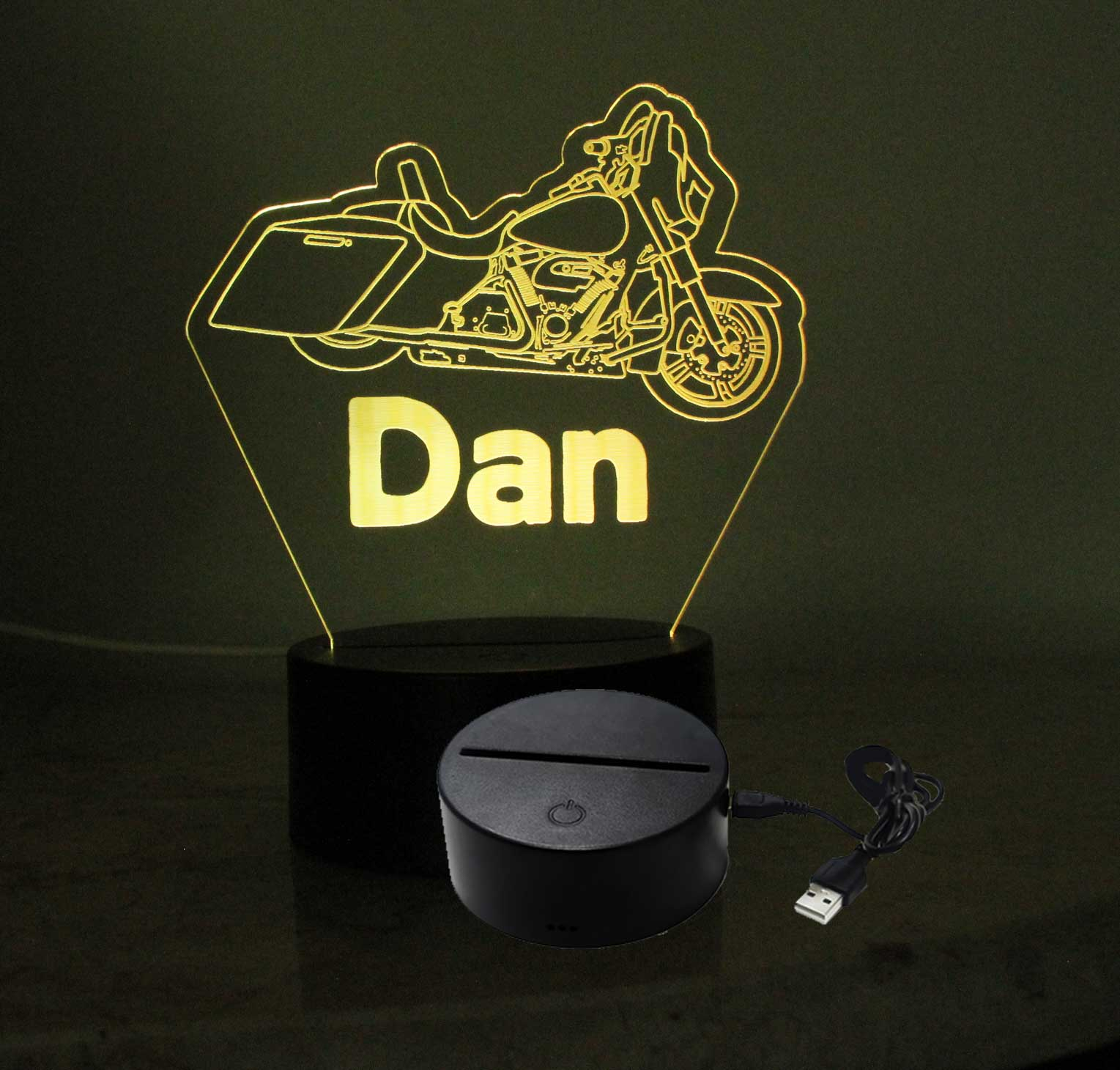 Personalized USB/110V/240V battery operated Motorcycle night light