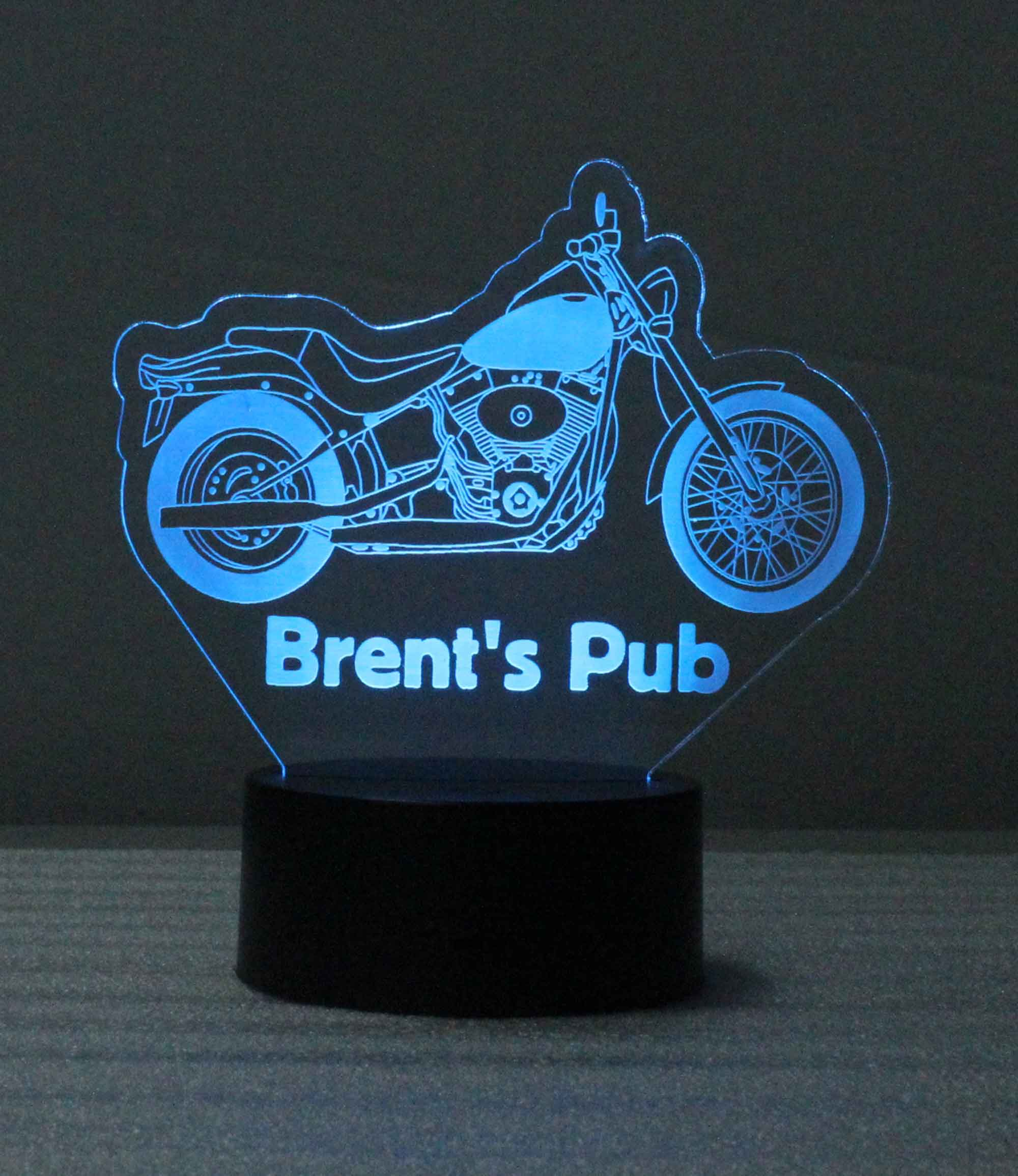 Personalized Motorcycle night light, table top USB/110V/240V battery operated