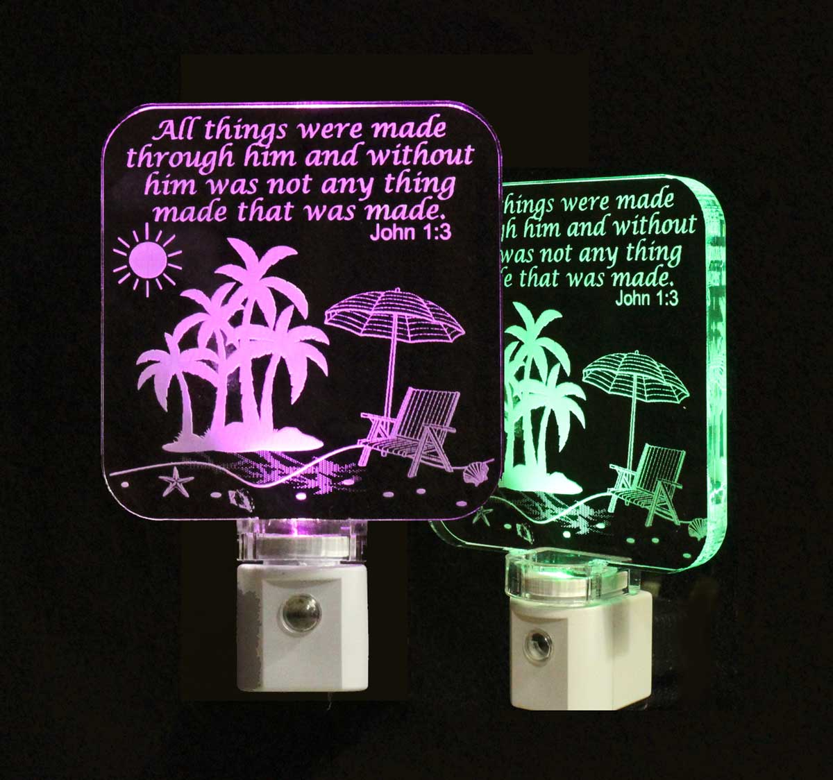 Personalized Beach night light with Palm Trees and scripture