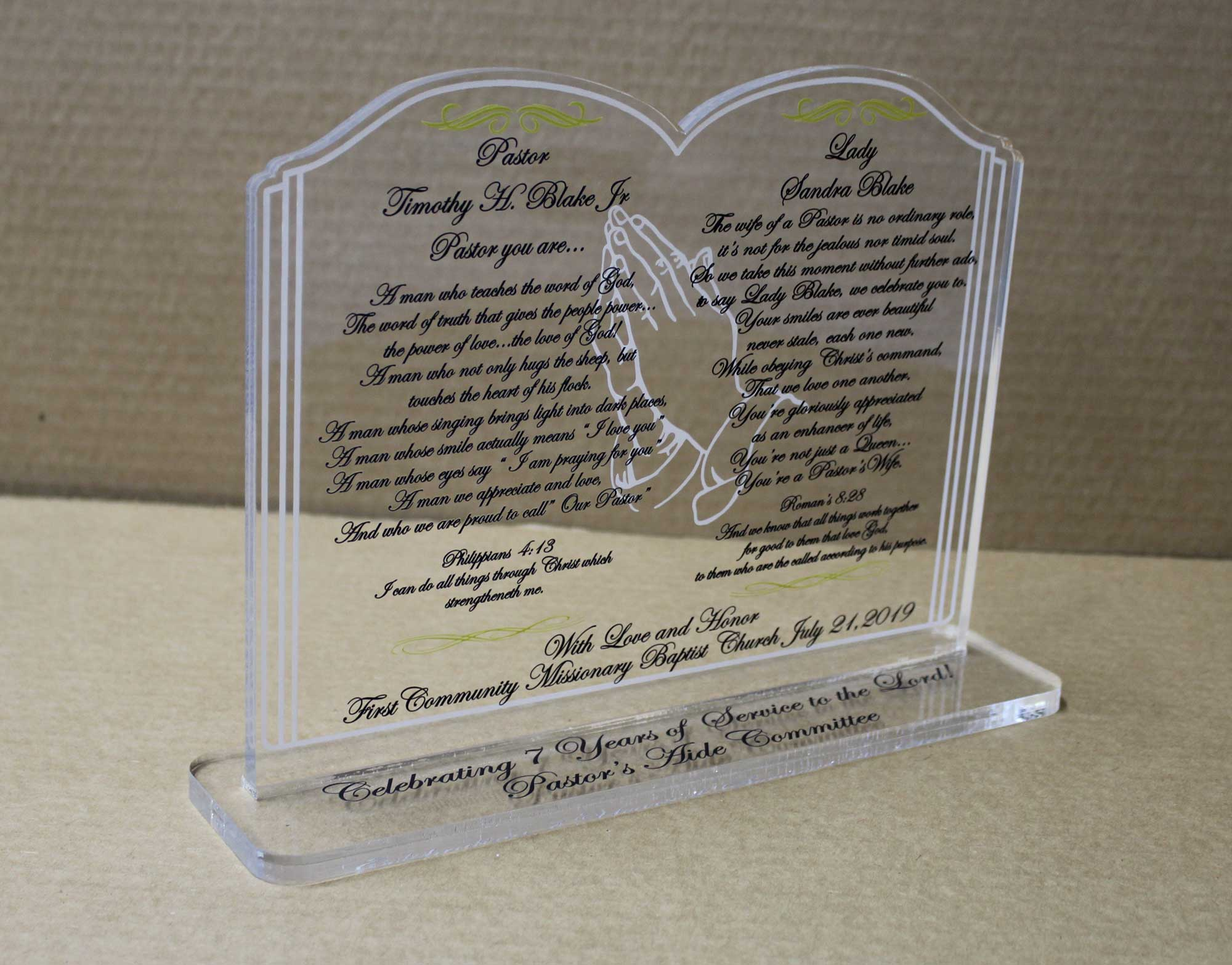 UV Printed Acrylic Keepsake, Awards - Trophies  Plaques