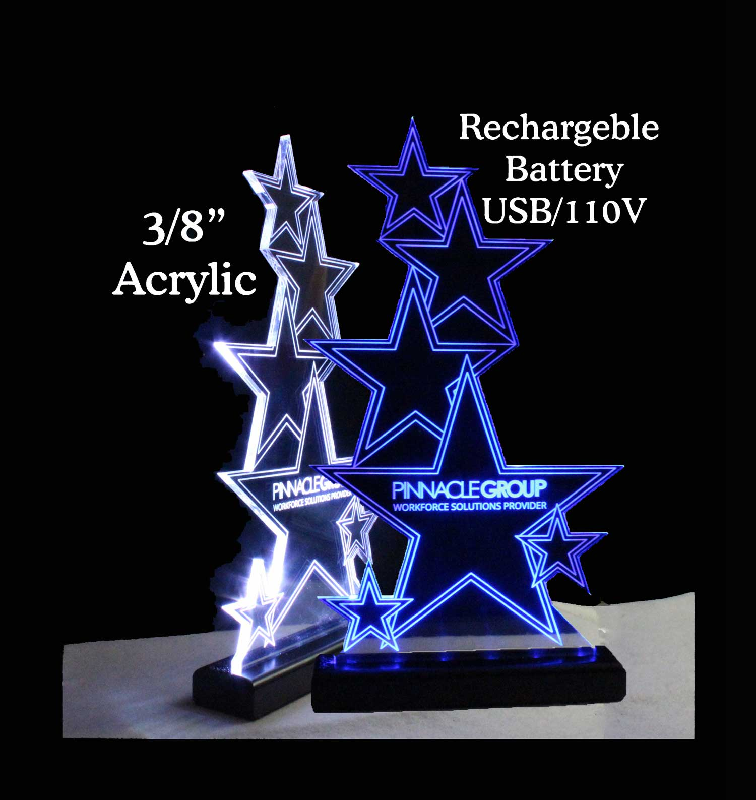 Rechargeable Battery Operated LED Awards, Name Plates, Trophies,  Desk Signs