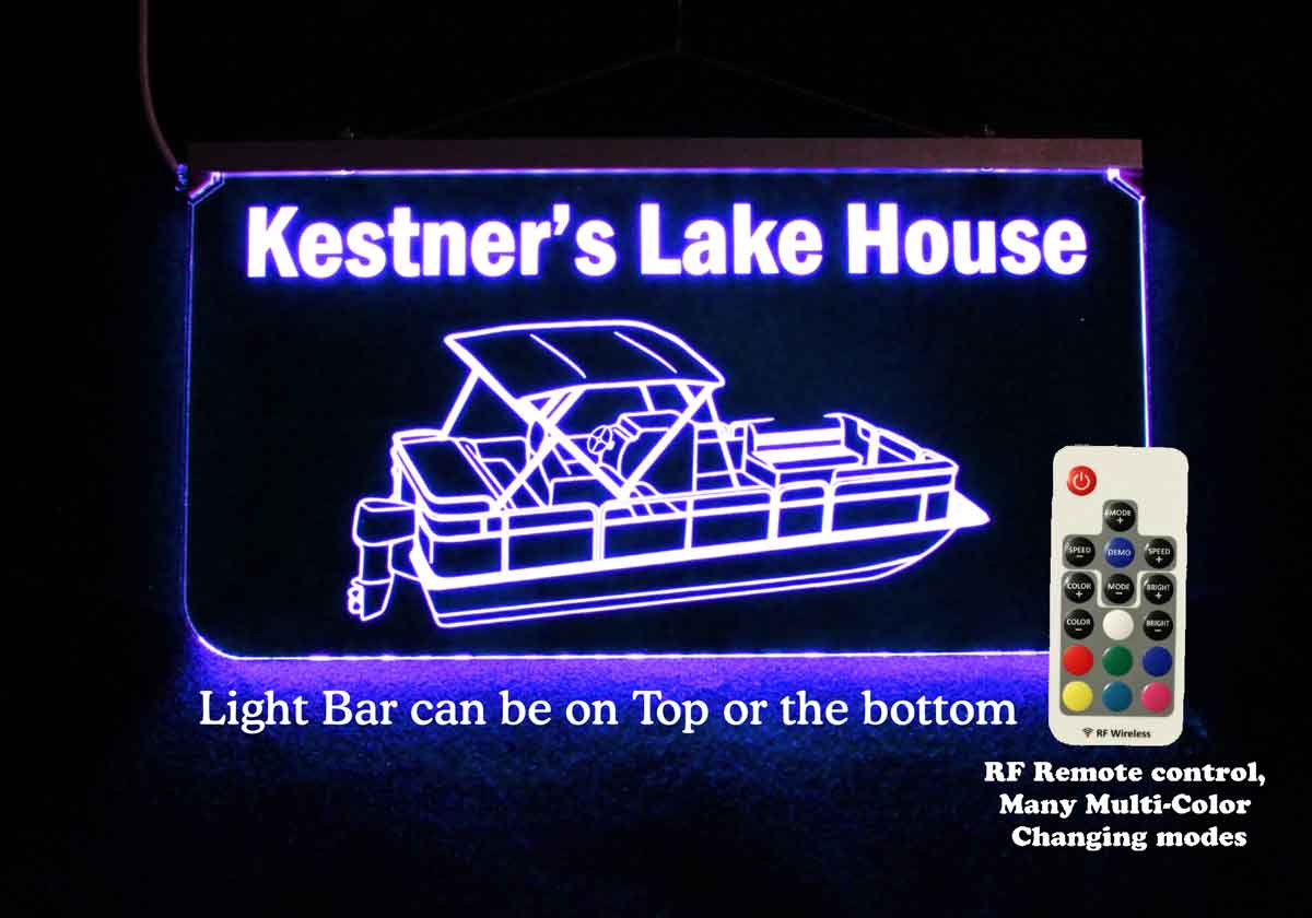 Personalized Pontoon Boat Sign - Color Changing LED Neon