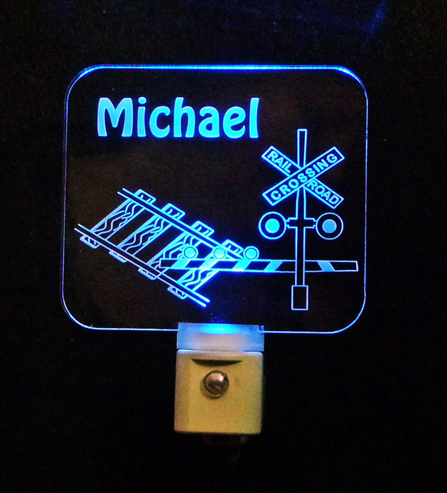 Personalized Train Railroad Crossing LED Night Light