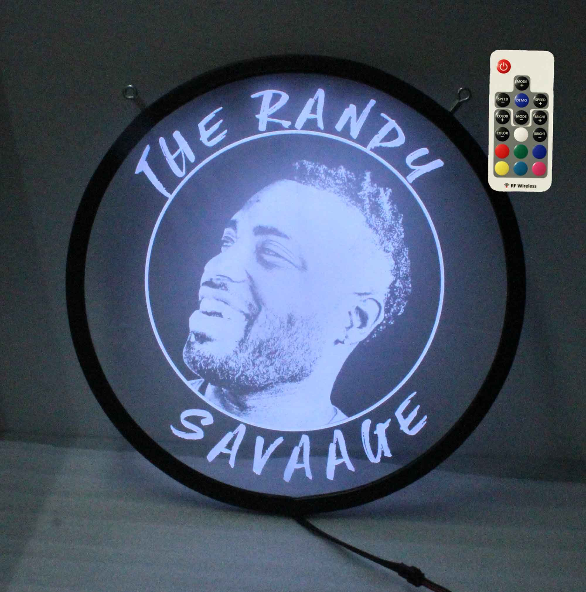 Custom Photo Etched Round LED Sign - Remote controlled - Neon