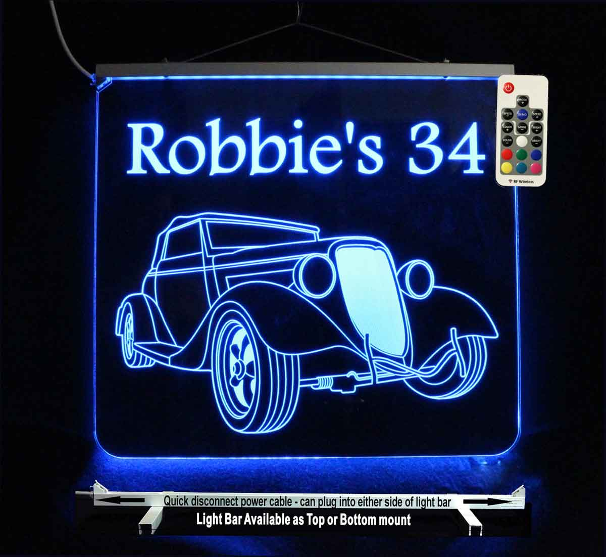 Antique Car LED Man Cave Sign - Personalized car sign - Neon