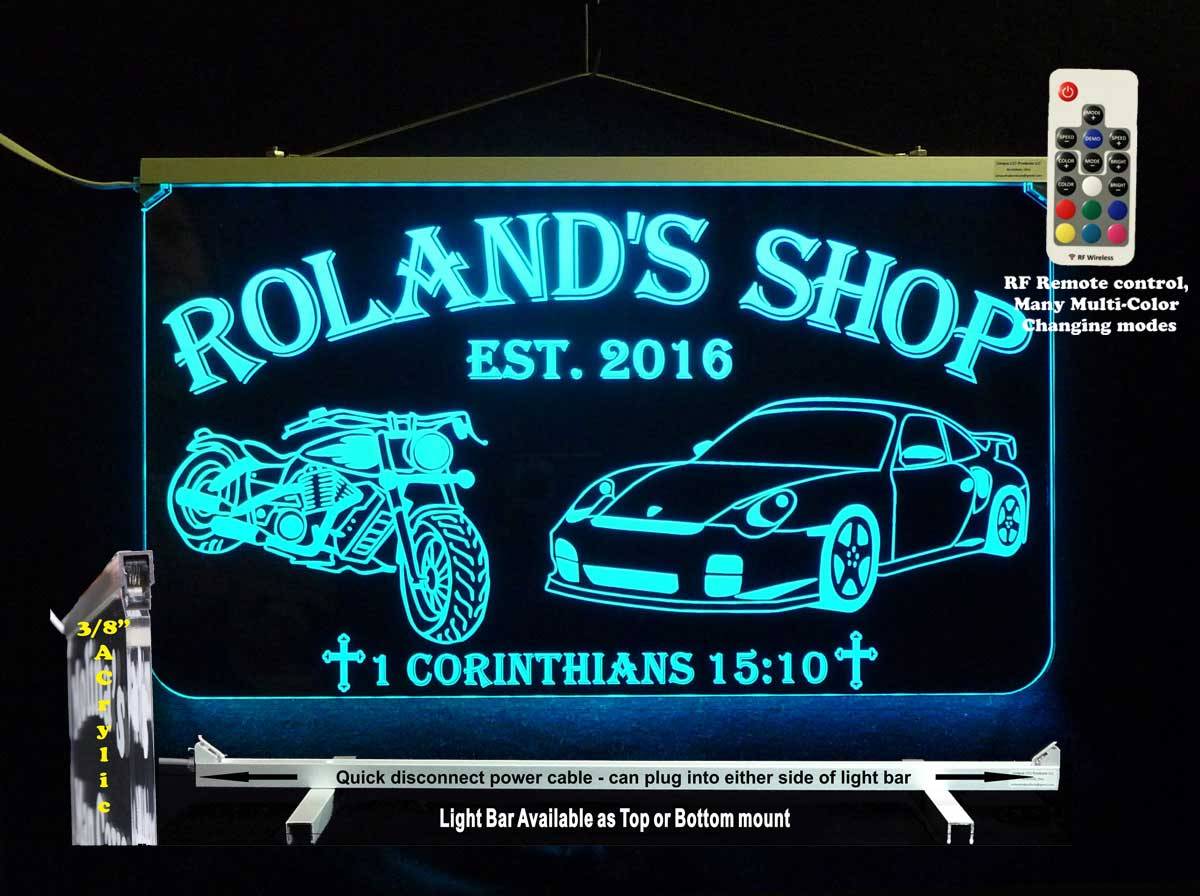 LED Motorcycle Sports Car Personalized Sign, Man Cave, Garage Sign