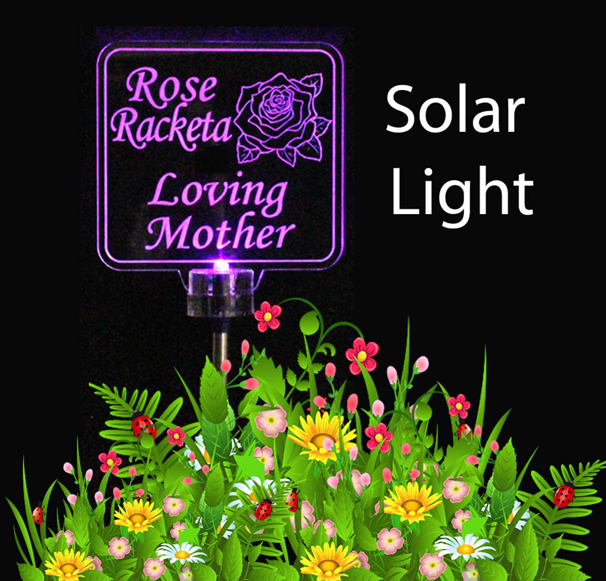 Personalized Rose Solar Light, Grave marker, Garden light