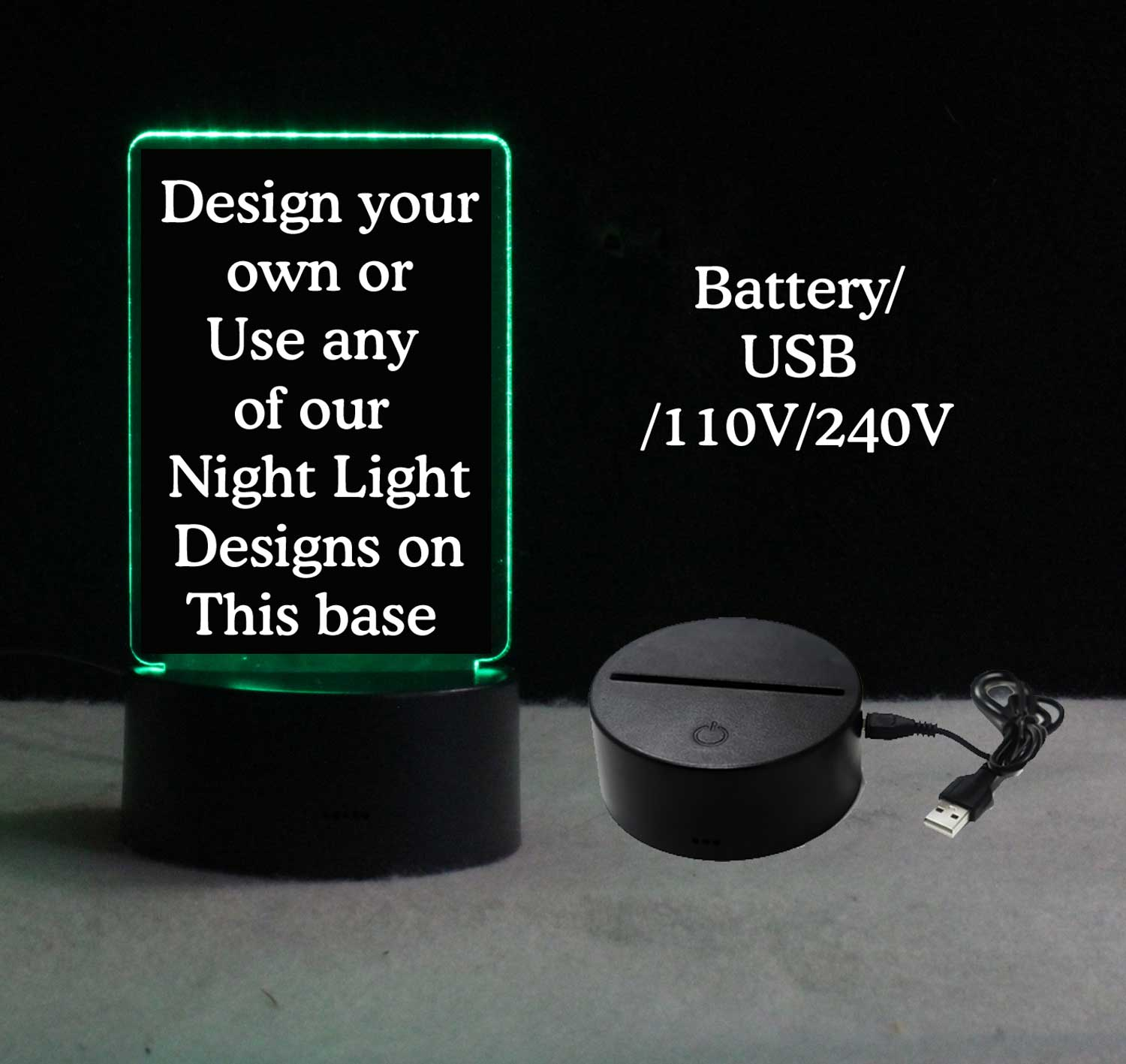 Personalized USB/110V/240V battery operated night light
