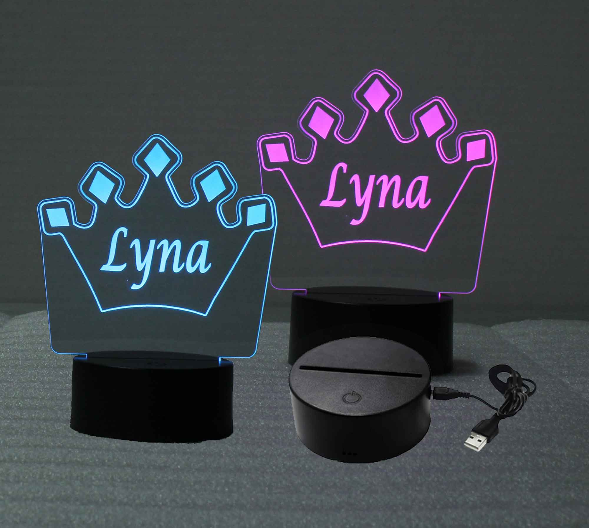 Crown Personalized USB/110V/240V battery operated night light