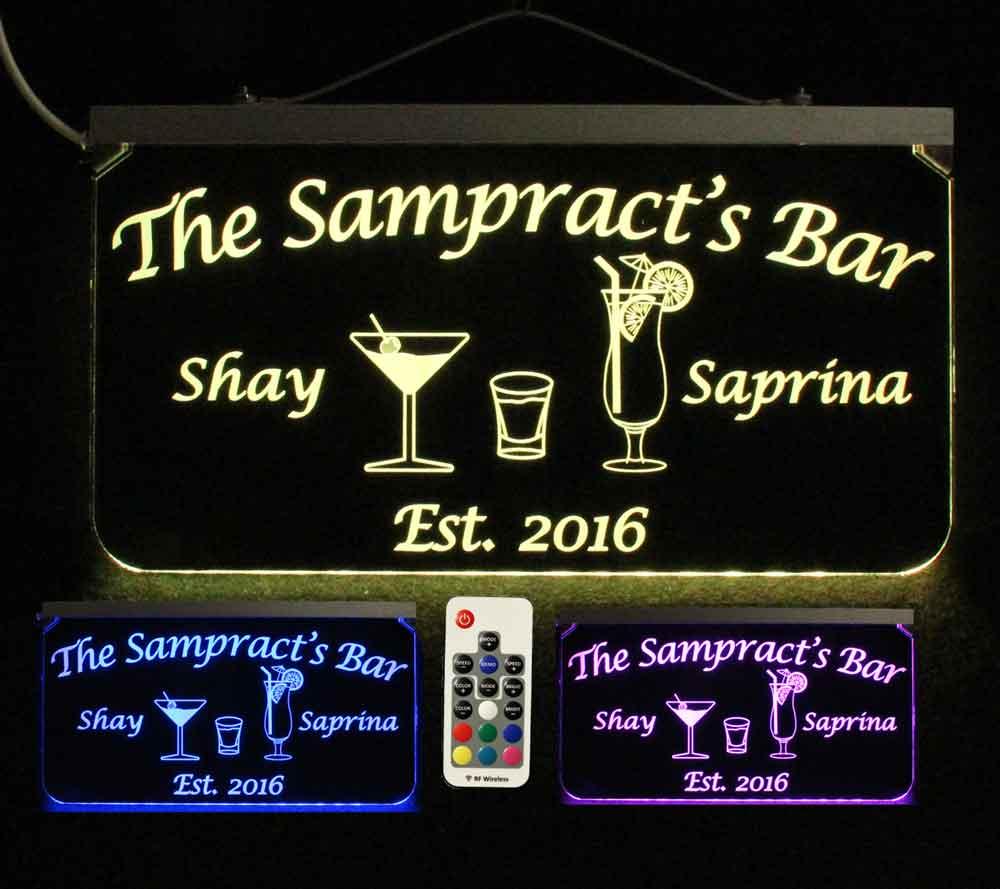 Personalized Bar Sign, Man Cave Sign, Martini Glass, Shot Glass, Coctail Glass