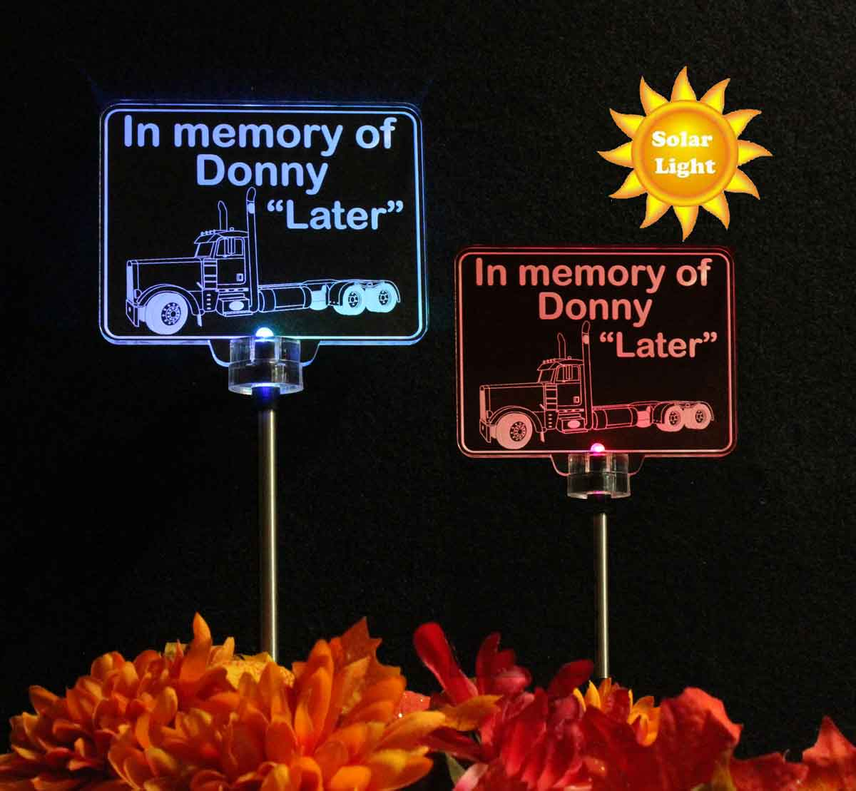 Semi Truck Grave Marker Solar Light, Personalized Garden Light